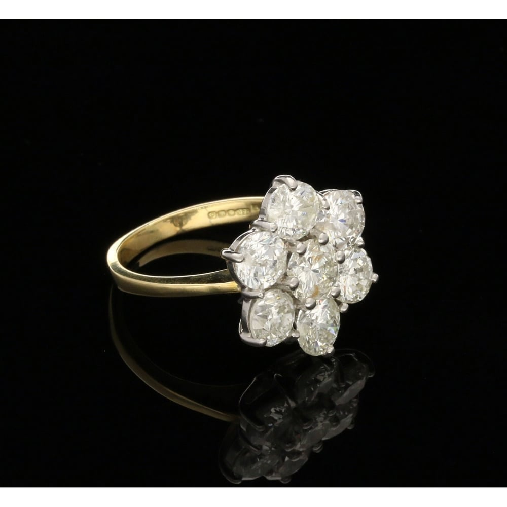 rings stone in cluster gold round diamond ring pin engagement yellow