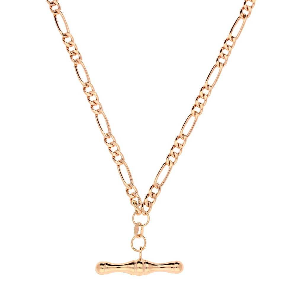 046ce6fac8a 9ct Rose Gold Hollow Albert Chain & T-bar Pendant - 6.30g