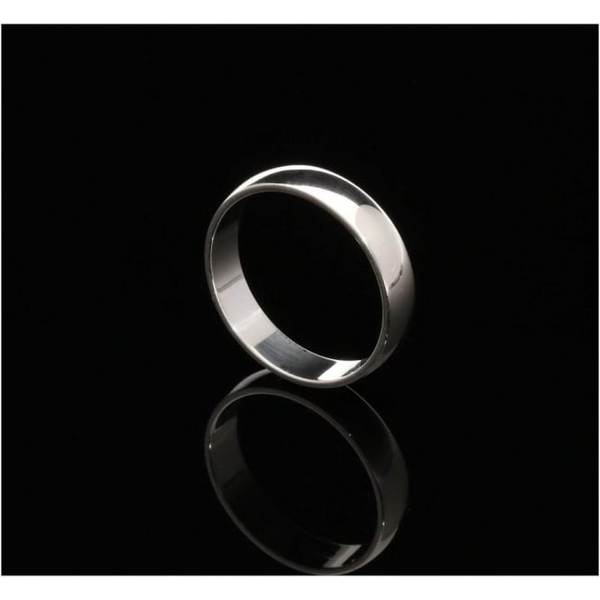 9ct White Gold 4mm D Shape Wedding Ring