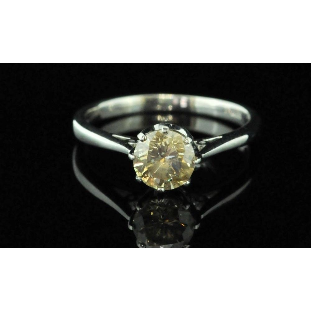 P1 P2 Diamond: Pre Owned 9ct White Gold Champagne Diamond Solitaire Ring