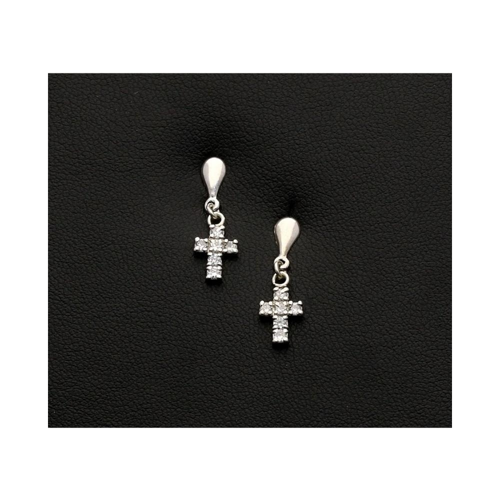 9ct white gold cross earrings. Black Bedroom Furniture Sets. Home Design Ideas