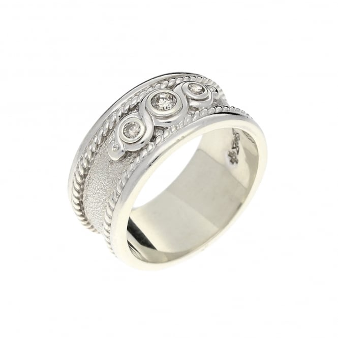 9ct White Gold Diamond Band Ring - 9mm - 0 18ct | Miltons