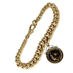 9ct Yellow Gold Albert Bracelet & Half Sovereign - 37.40