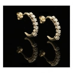 9ct Yellow Gold Diamond Hoop Earrings - 0.50ct