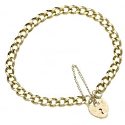 9ct Yellow Gold Flat Curb Ladies Bracelet - 14.8g