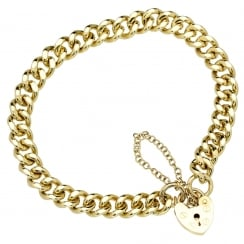 9ct Yellow Gold Flat Curb Ladies Bracelet - 29.30g