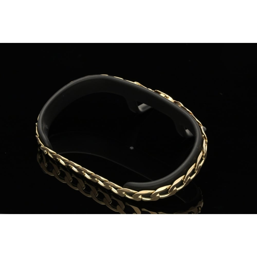 milton s secondhand 9ct yellow gold gents curb bracelet 12