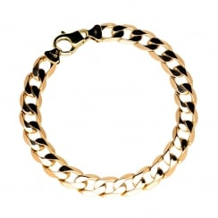 9ct Yellow Gold Gents Curb Bracelet - 16.90g
