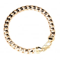 9ct Yellow Gold Gents Curb Bracelet - 19.10g