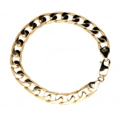 9ct Yellow Gold Gents Curb Bracelet - 26.0g