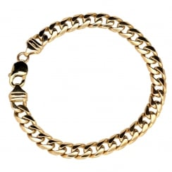 9ct Yellow Gold Gents Curb Bracelet - 33.20g