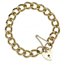 9ct Yellow Gold Heavy Curb Ladies Bracelet - 34.30g