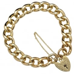 9ct Yellow Gold Heavy Ladies Curb Bracelet - 51.60 grams