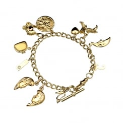 9ct Yellow Gold Ladies Charm Bracelet 11 Charm - 21.30 Grams