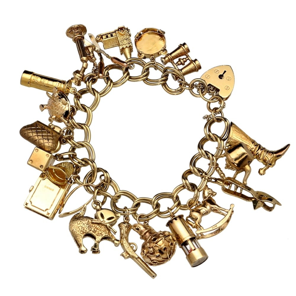 9ct Yellow Gold Ladies Charm Bracelet 21 Charms - 64.40 Grams ... 037f7951ebff