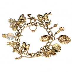 9ct Yellow Gold Ladies Charm Bracelet 22 Charms - 44.10 grams.