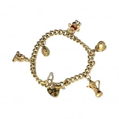 9ct Yellow Gold Ladies Charm Bracelet 5 Charms - 22.30 grams.