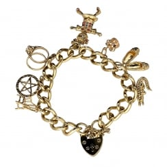 9ct Yellow Gold Ladies Charm Bracelet 7 Charms - 47.30 grams.