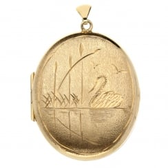 9ct Yellow Gold Large Oval Swan Locket