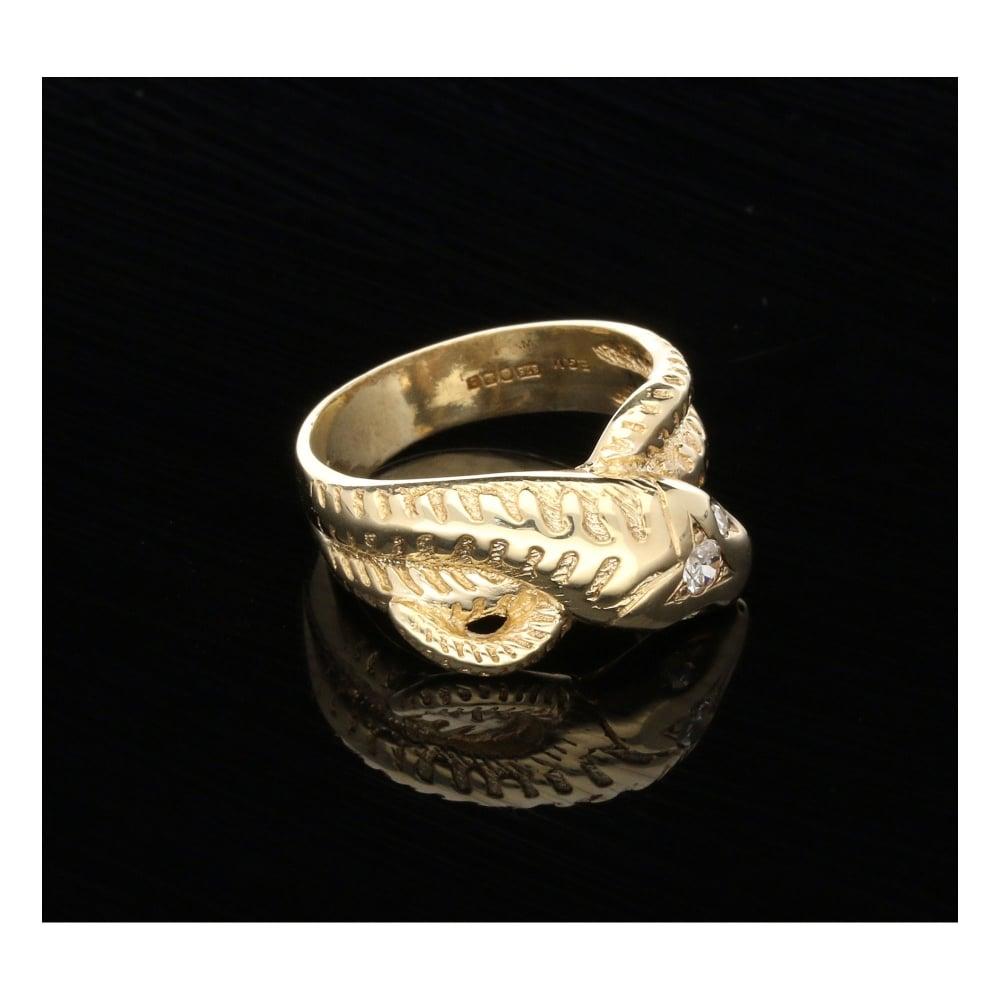 9ct yellow gold mens snake ring set miltons