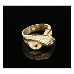 9ct Yellow Gold Mens Snake Ring - Diamond Set