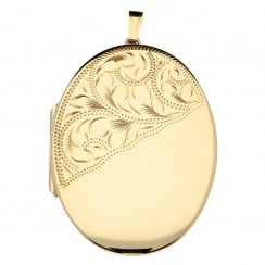 9ct Yellow Gold Patterned Large Oval Locket