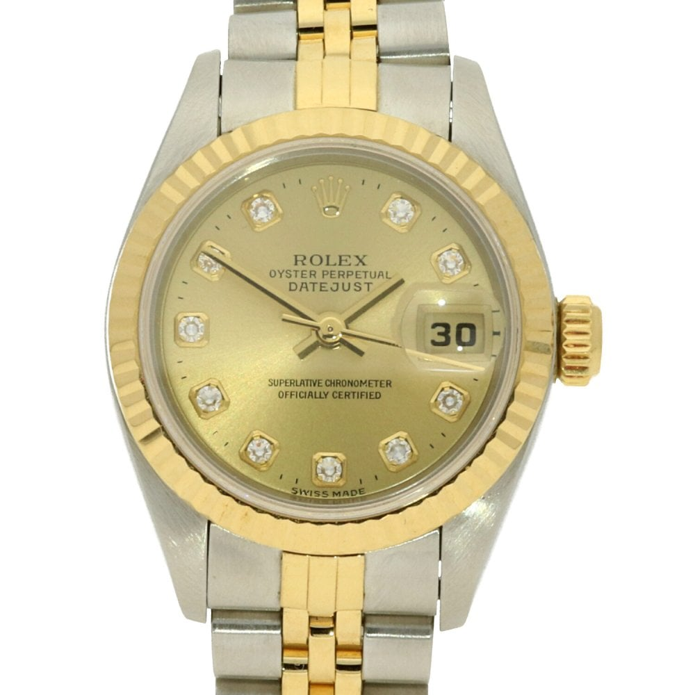 2ee7b80acd64a Rolex Datejust 69173 - Ladies - Champagne Diamond Dial - 1998 ...