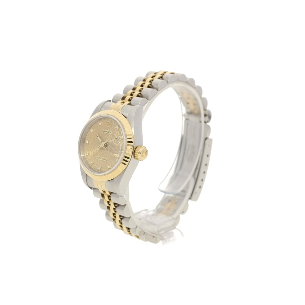 Rolex datejust 69173 ladies watch champagne jubilee dial 1996 for Jubilee watch