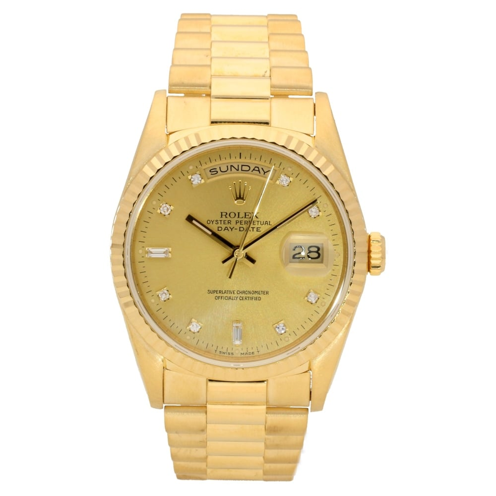 Rolex Day Date 18238 18ct Gold Champagne Diamond Dial 1990
