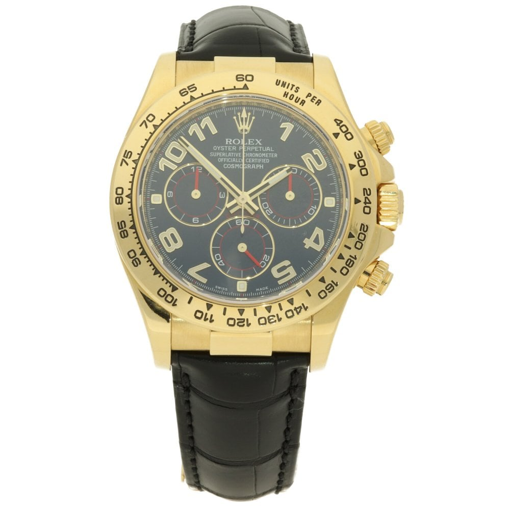 Second Hand Yellow Gold Rolex Daytona 116518 Black Leather Strap