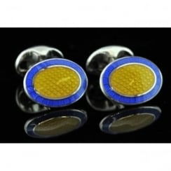 Deakin and Francis Blue and Yellow Enamel Oval Cufflinks