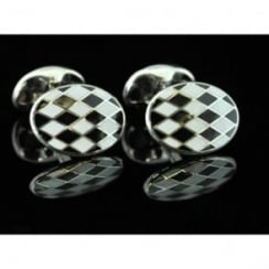 Deakin and Francis Silver Oval Enamel Cufflinks