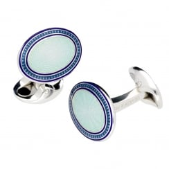 Deakin and Francis Sky & Royal Blue Enamel Oval Cufflinks