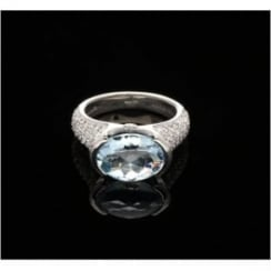 Diamond & Aquamarine 18ct White Gold Ring