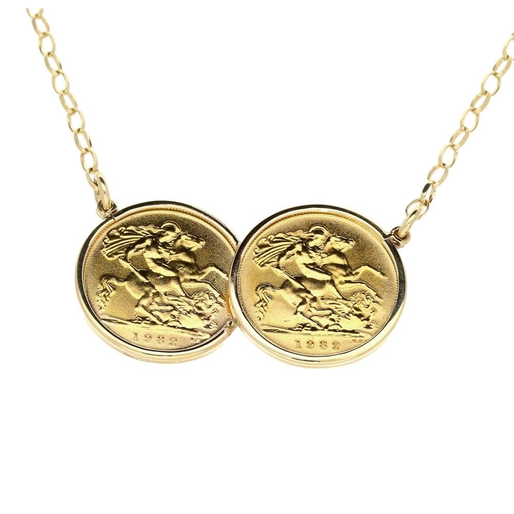 Double half sovereign pendant chain miltons double half sovereign pendant amp aloadofball Images