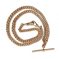 "Gents 20"" 9ct Rose Gold Albert Chain - 43.20g"