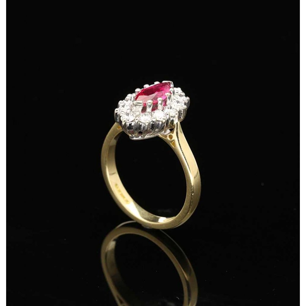 Marquise Cut Ruby And Diamond Ring 18ct Yellow Gold
