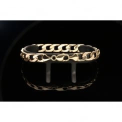 Mens 9ct Yellow Gold Curb Bracelet - 31.60g