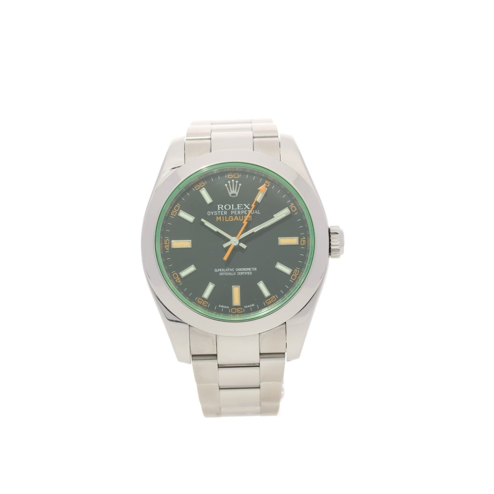 Rolex Milgauss 116400GV - Second Hand Watch - Green Tint ...