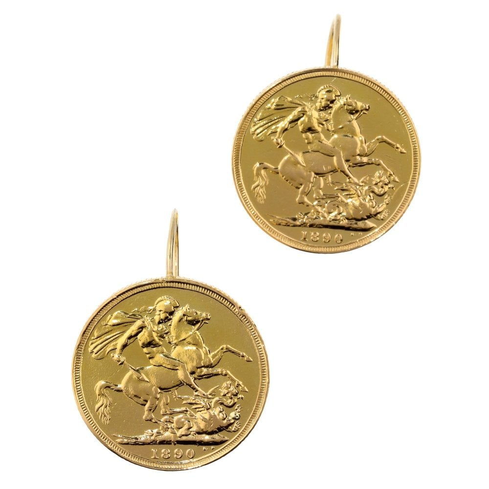 9ct Gold Sovereign Earrings