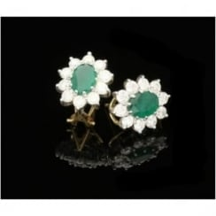 Emerald and Diamond Oval Cluster Stud