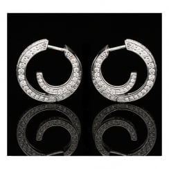 18ct White Gold Double Loop Earrings - 1.50ct