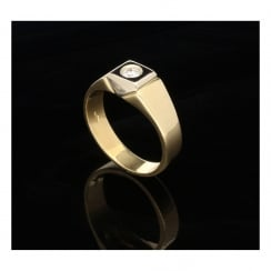 18ct Yellow Gold Men's Diamond Ring - 0.18ct - SI1/SI2 - I