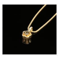 18ct Yellow Gold Pendant & Chain - Orange Stone