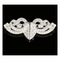 9ct White Gold Diamond Brooch - 3.70ct Diamonds