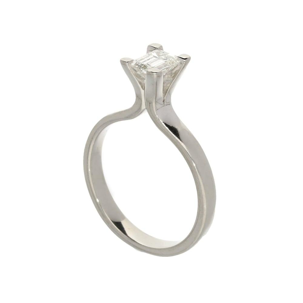 Milton s Platinum 0 50ct Emerald Cut Diamond Engagement Ring