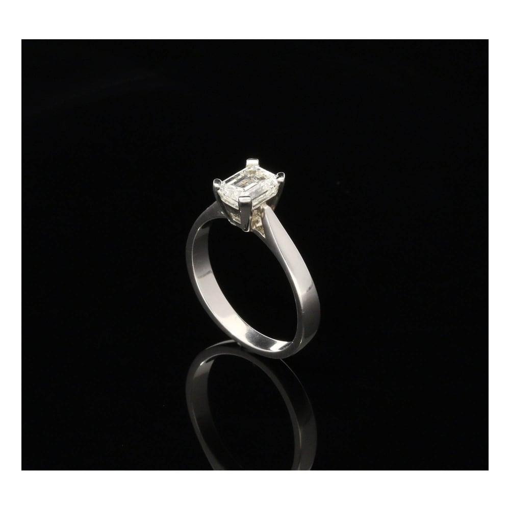 Platinum 0 86ct Emerald Cut Diamond Engagement Ring
