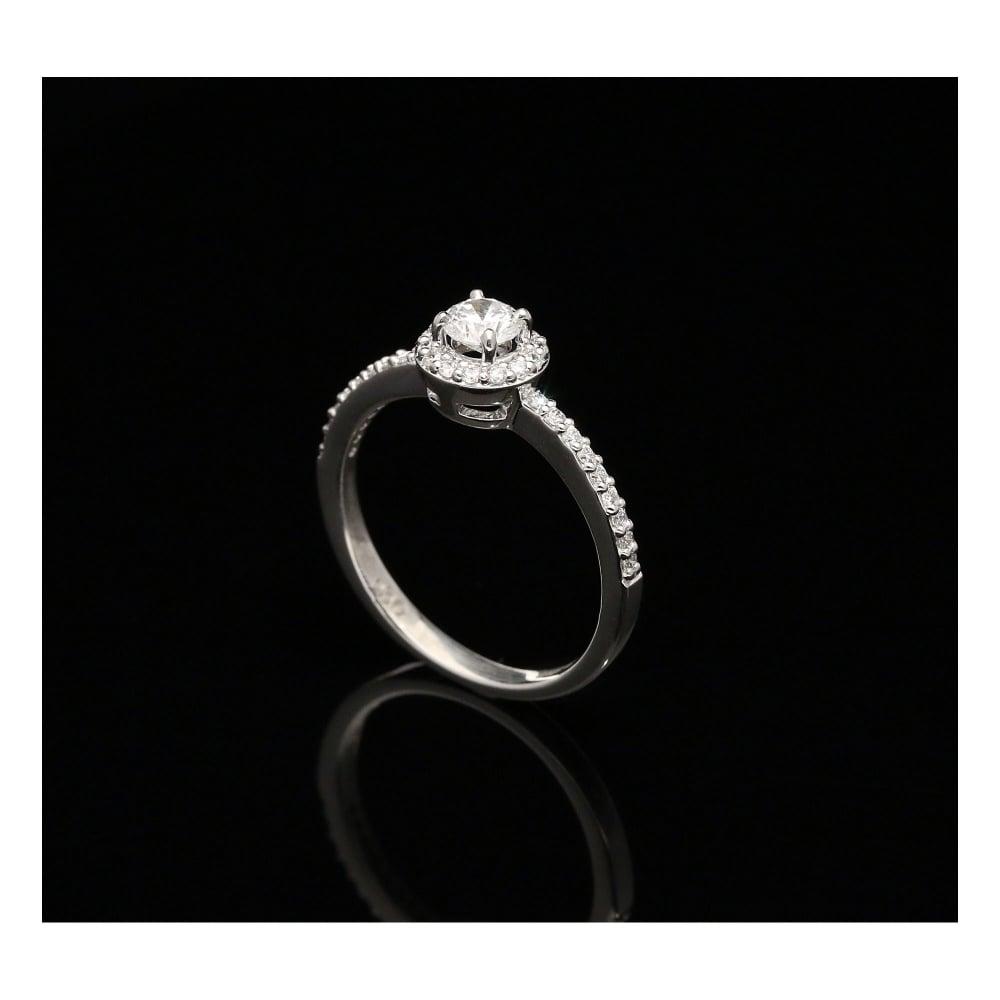 Secondhand Platinum Diamond Halo Engagement Ring 0 52ct