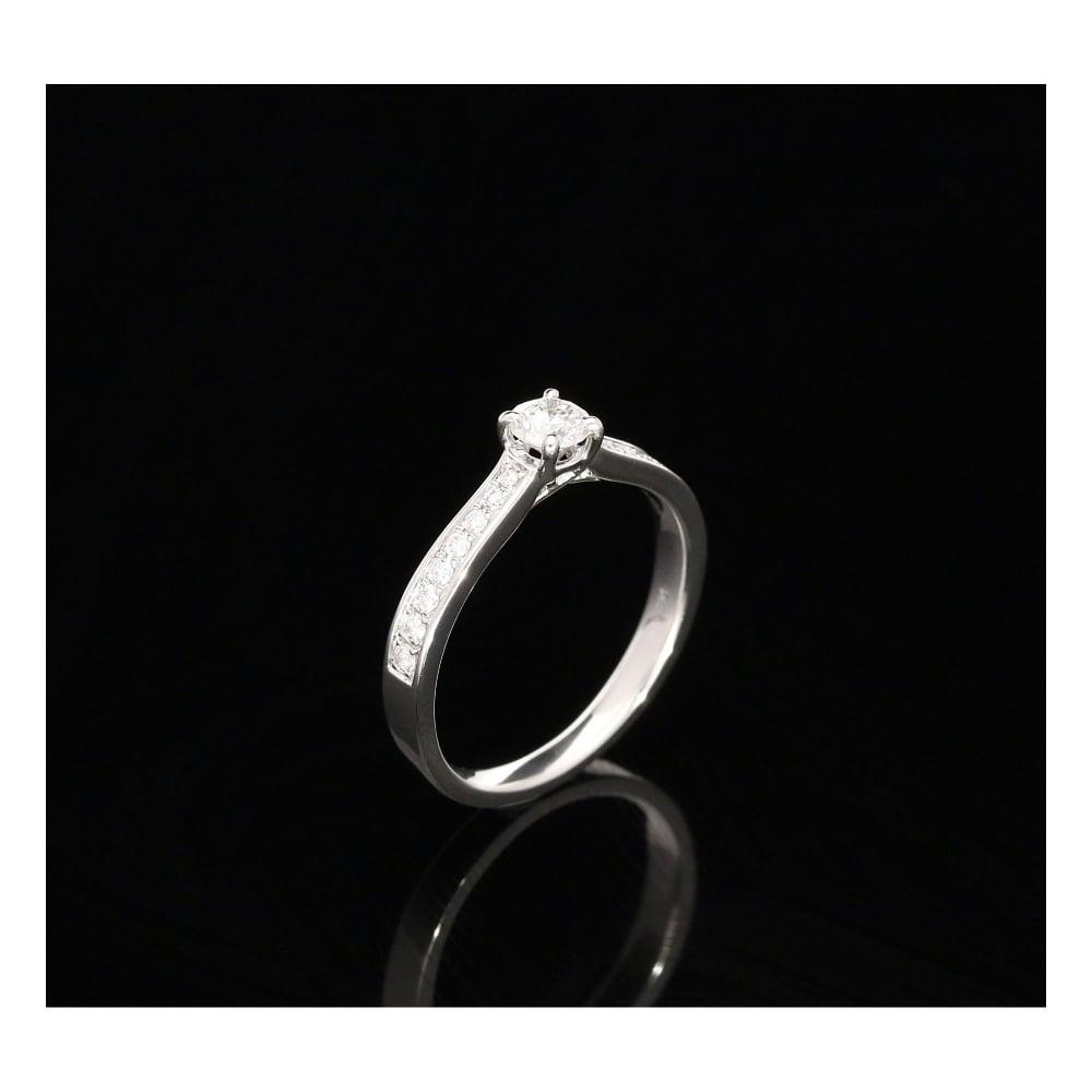 Milton s Secondhand Platinum Engagement Ring With Diamond Shoulders