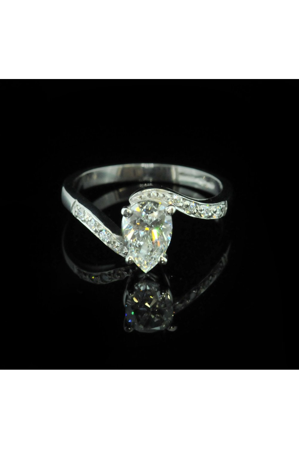 Platinum Pear Cut Diamond Engagement Ring